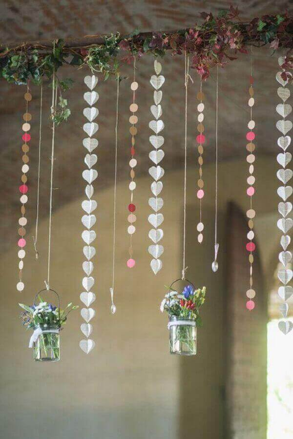 Engagement decoration hung hearts