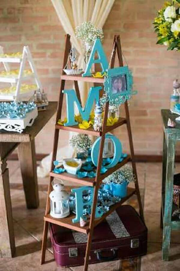 Engagement decoration wooden staircase