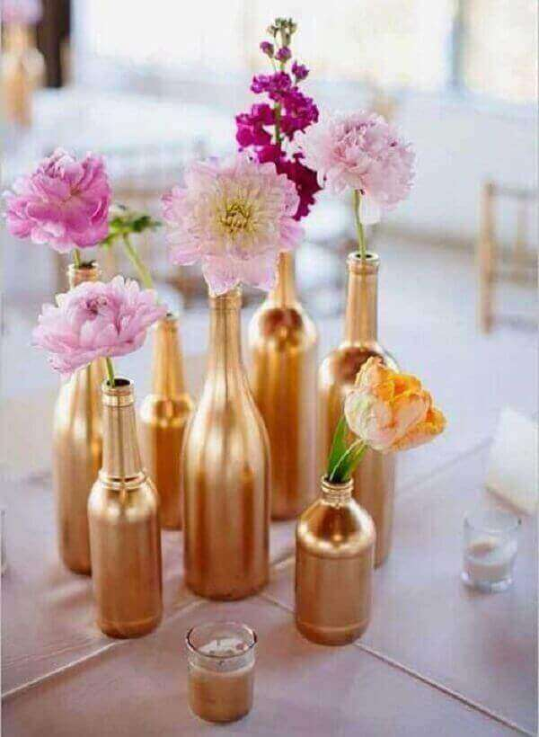 Engagement decoration gold bottles