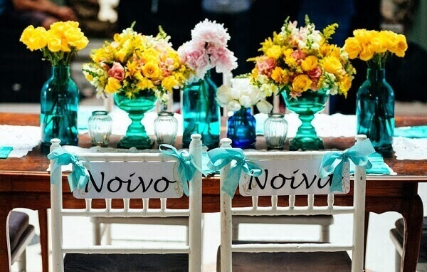Engagement decoration for the bride and groom table
