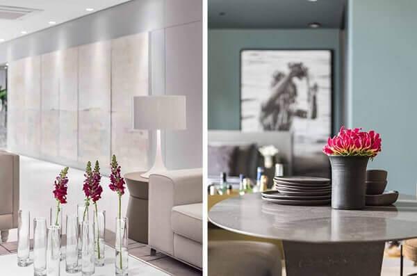 Decoração floral com vasos