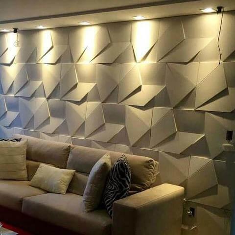 Gesso 3D em parede atrás do sofá Foto de OLX