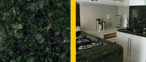 Granito verde Ubatuba em bancada de cozinha Projeto de Pedra Canjiquinha