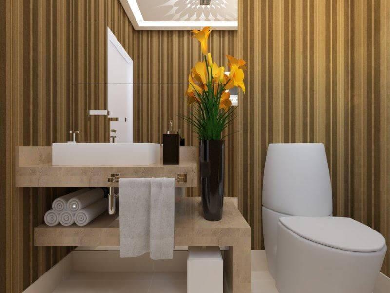 Lavabo com bancada de granito bege Projeto de Aureum Arquitetura