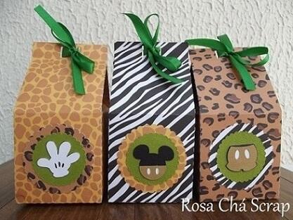 Lembrancinhas do Mickey safari em sacolas com animal print Foto de Pinterest