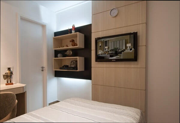 Painel para quarto de planejado de madeira