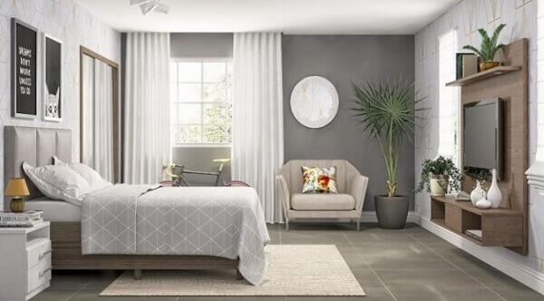 Painel para quarto e rack de madeira escura