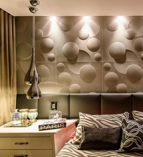 Parede de quarto moderno com gesso 3D cinza Foto de Reforma 3D