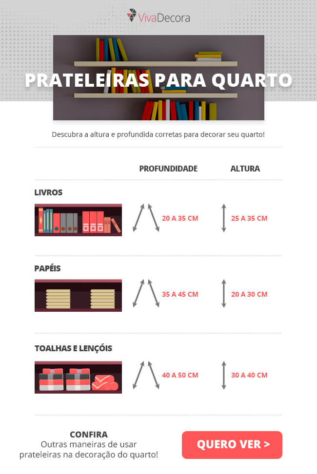 Infográfico Prateleiras para Quarto