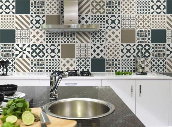 Revestimento para cozinha com estilo patchwork
