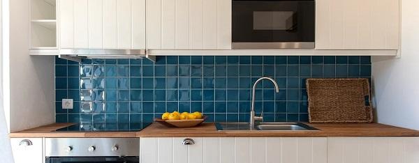 Revestimento para cozinha na cor azul