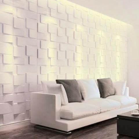 Sala clara com placas grandes de gesso 3D geométrico Foto de OLX
