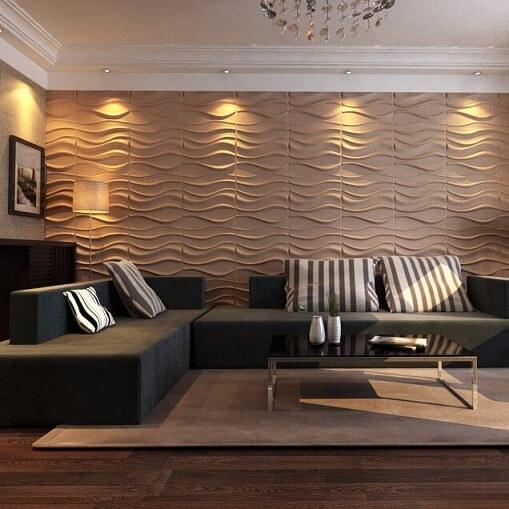 Sala de estar com parede de gesso 3D em tom de bege Foto de Alibaba
