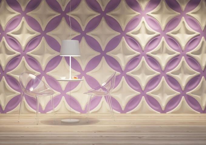Sala de jantar moderna com gesso 3D com padrões grandes Foto de Isol Design