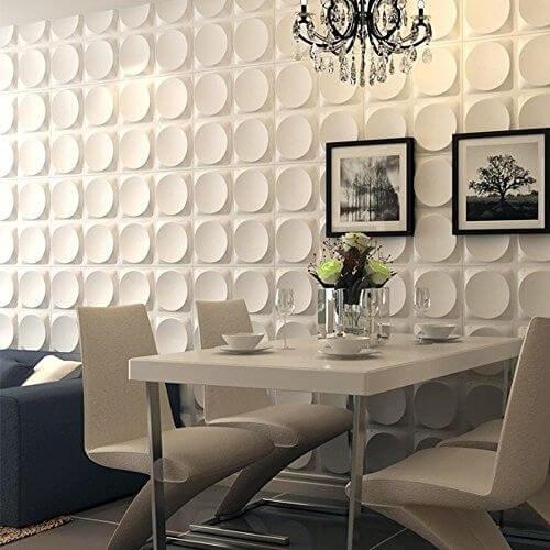 Sala integrada com parede de gesso 3D Foto de eBay