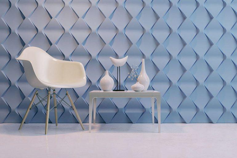 Sala minimalista com gesso 3D azul
