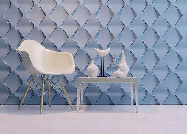 Sala minimalista com gesso 3D azul Projeto de XMoldes