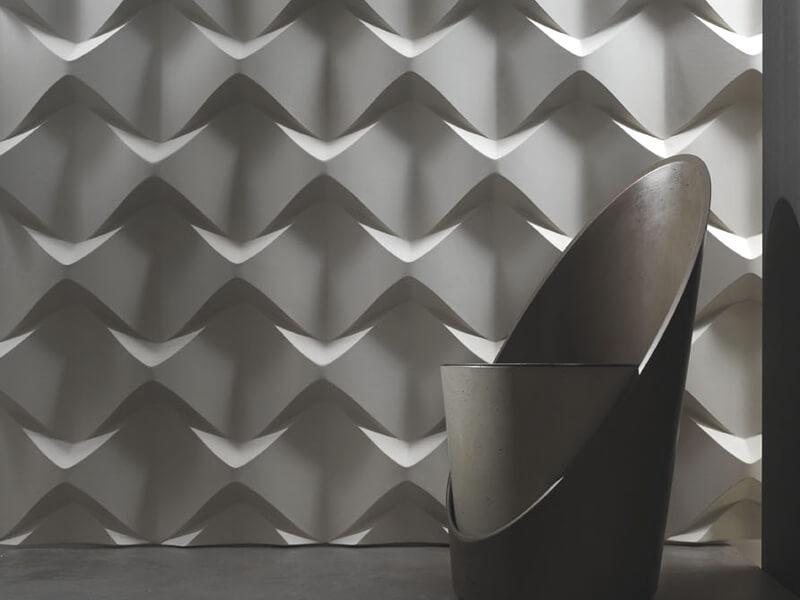 Sala moderna com parede de gesso 3D Foto de Luceled