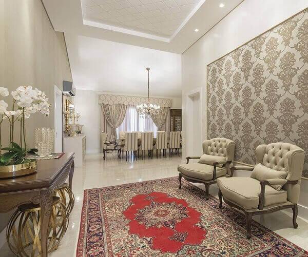 Tapete persa decora hall requintado