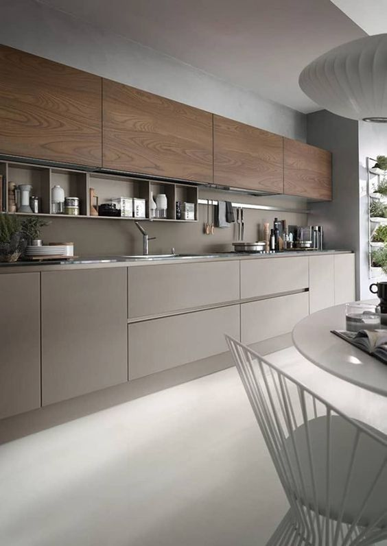 armário de cozinha - armário com portas marrons