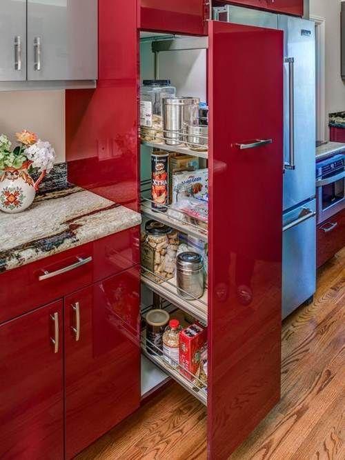 armário de cozinha - armário com portas vermelhos