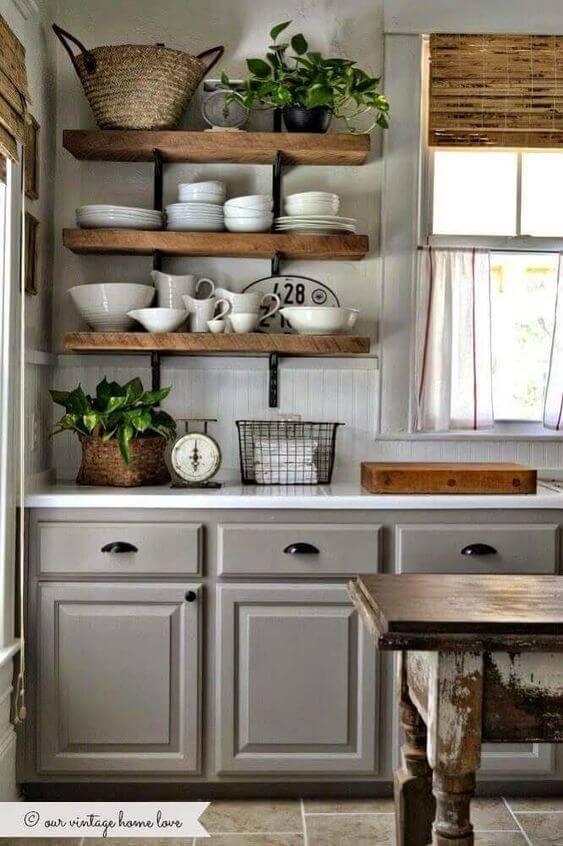 armário de cozinha - cozinha clássica com armários cinza
