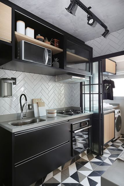 armário de cozinha - cozinha preta