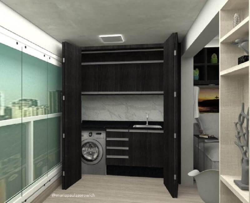 armário para área de serviço planejada com porta camarão Foto Maria Paula Zorowich