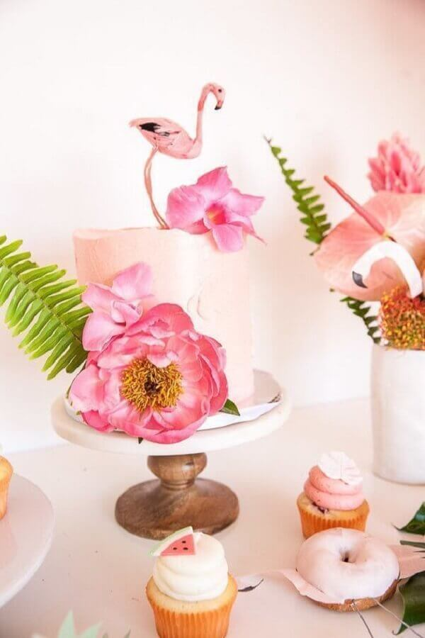 bolo decorado para festa flamingo tropical Foto Pinterest