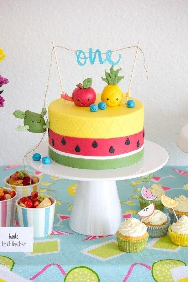 bolo para decoração de festa tropical infantil Foto Pinterest