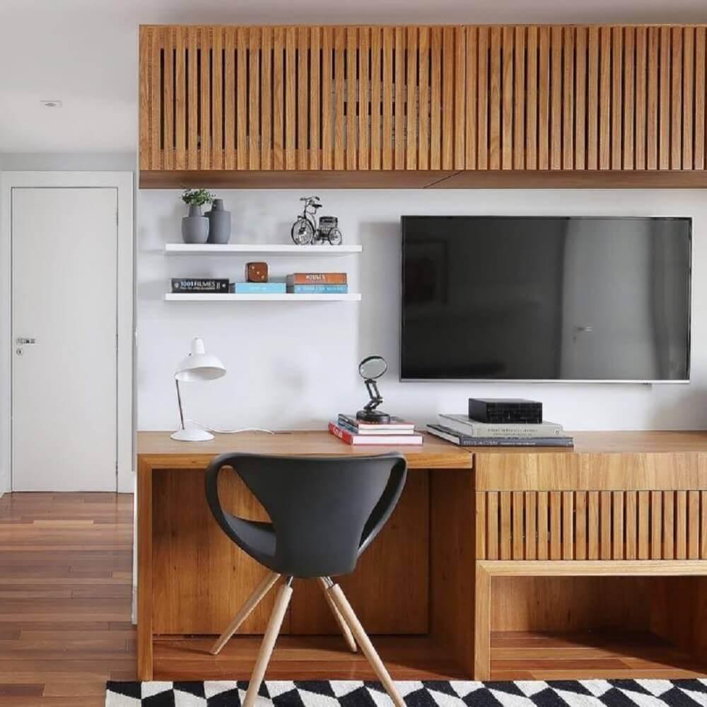 cadeira moderna para sala com home office pequeno Foto ACF Arquitetura