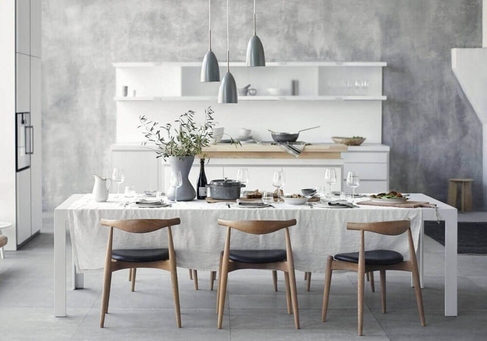 cadeiras modernas para sala de jantar branca e cinza Foto Pinterest