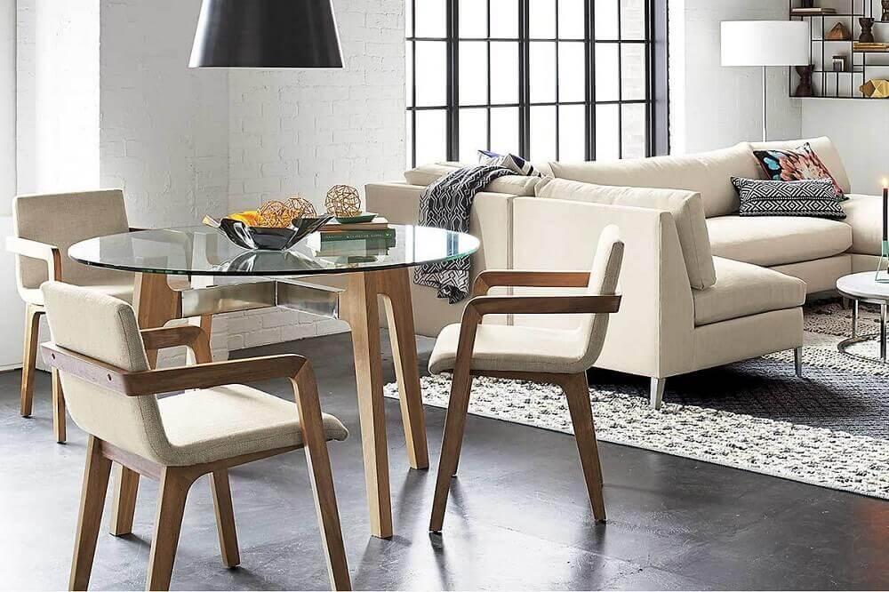cadeiras modernas para sala de jantar com mesa redonda de vidro Foto iCastle