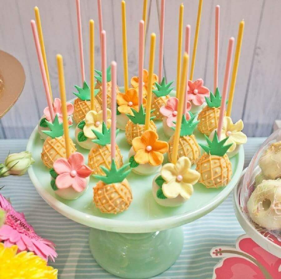 cake pop para festa tropical Foto Pinterest