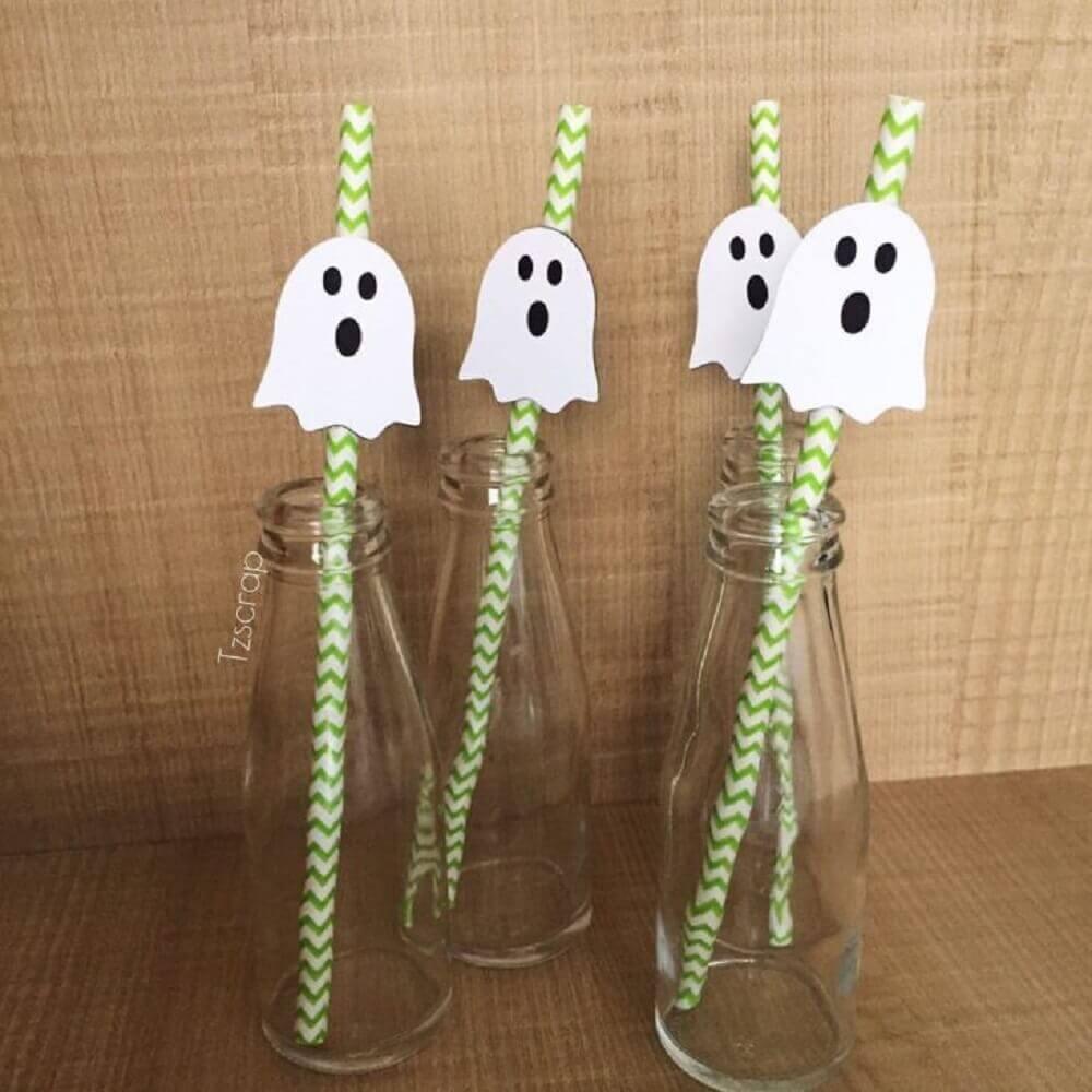 canudos decorados com fantasminhas para festa de halloween Foto TZSCRAP Papelaria