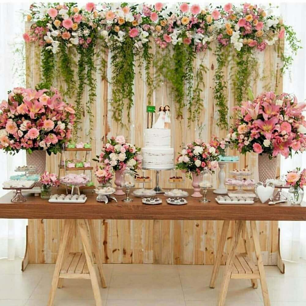 casamento em casa com decoração rústica para mesa de bolo Foto Pinterest