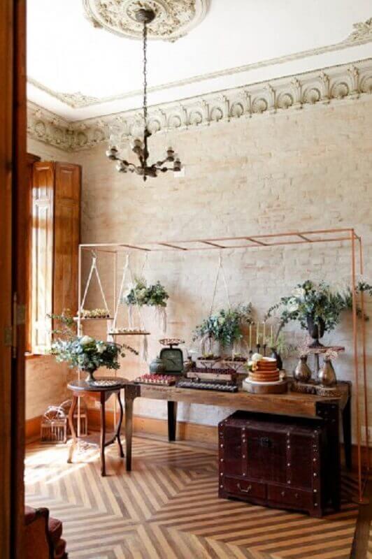 casamento simples em casa com decoração rústica Foto Pinterest