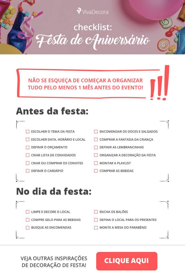 Infográfico - Check List Festa de Aniversário