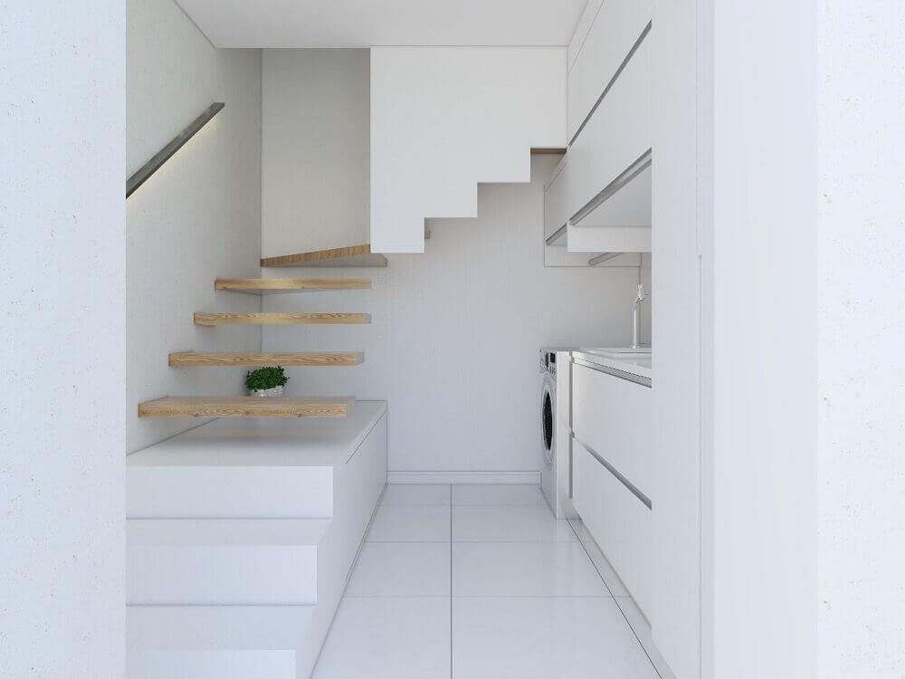 decoração clean para lavanderia planejada Foto Semíramis Alice Arquitetura & Design