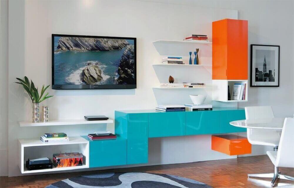 decoração com móveis laqueados para sala de estar Foto Pinterest