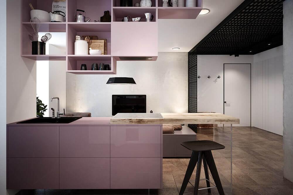 decoração cozinha americana com móveis laqueados e bancada de madeira Foto Behance