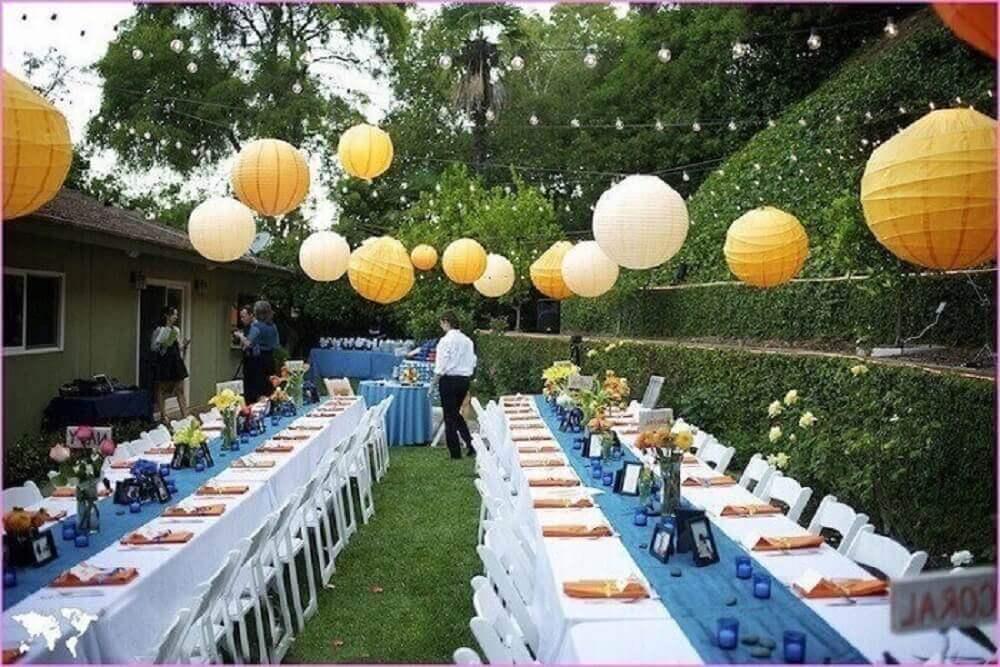 decoração de casamento em casa com luminárias de papel Foto Wedding Party Theme Decor