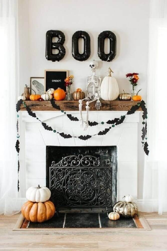 halloween decoration with font balloons and batsticks Photo We Heart It