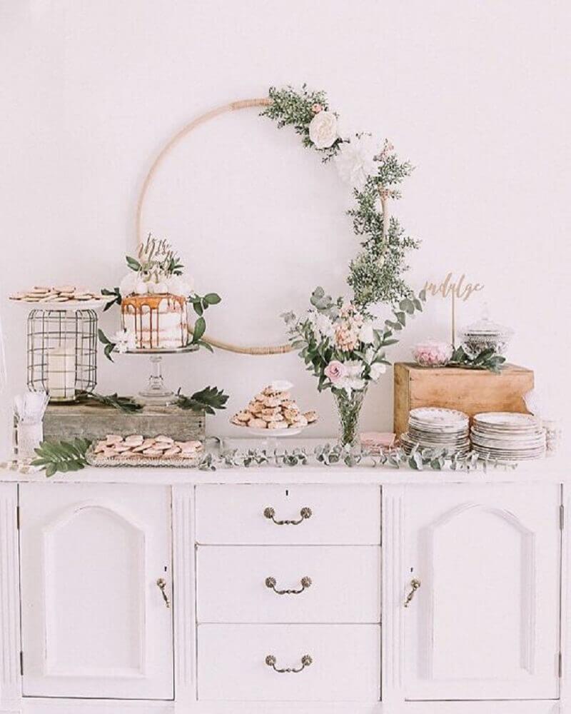 decoração delicada para casamento em casa Foto Pinterest