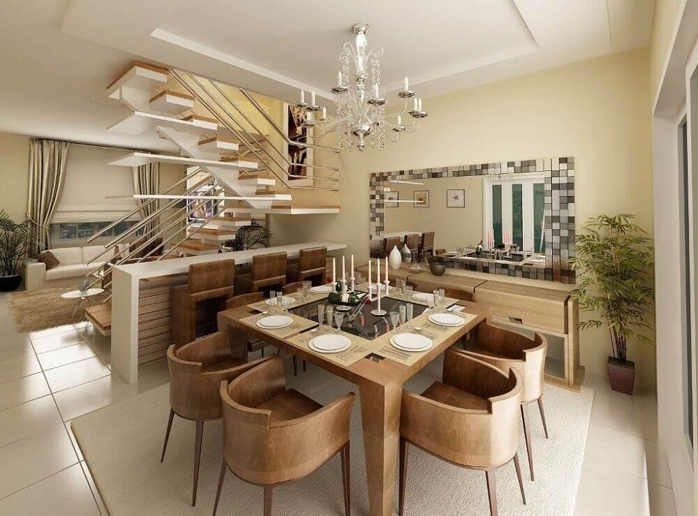 decoração em tons de bege com cadeiras modernas para sala de jantar com mesa quadrada Foto Pruzak