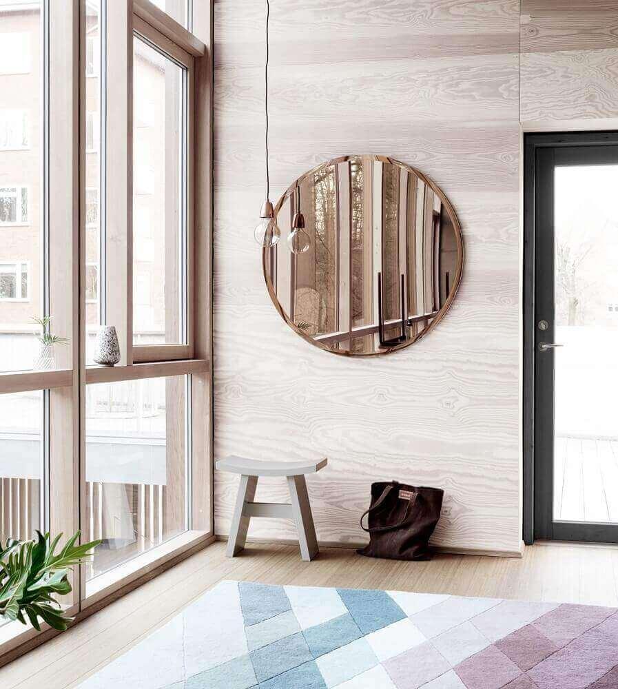decoração minimalista com modelo redondo de espelho bronze Foto Pinterest