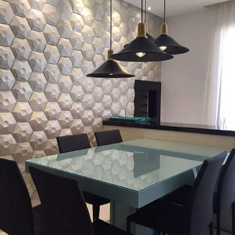 decoração moderna com parede 3D pendentes preto e mesa laqueada Foto Pinterest