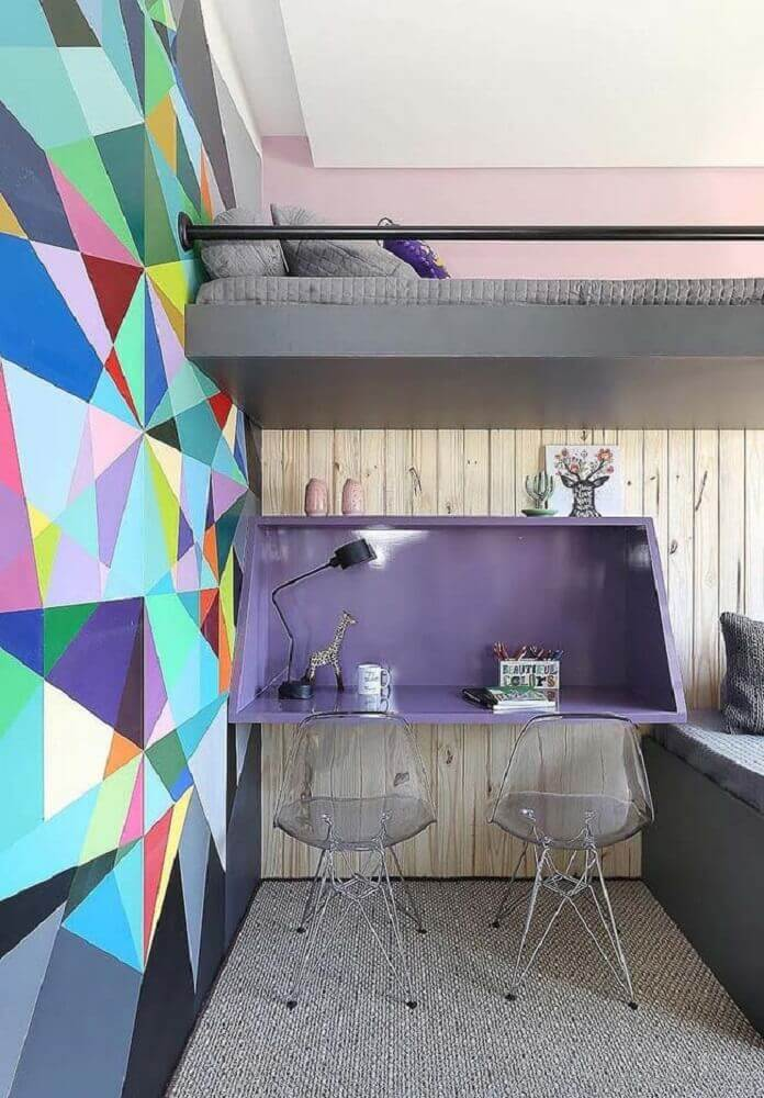 decoração moderna para quarto com parede colorida e móveis laqueados Foto Pinterest