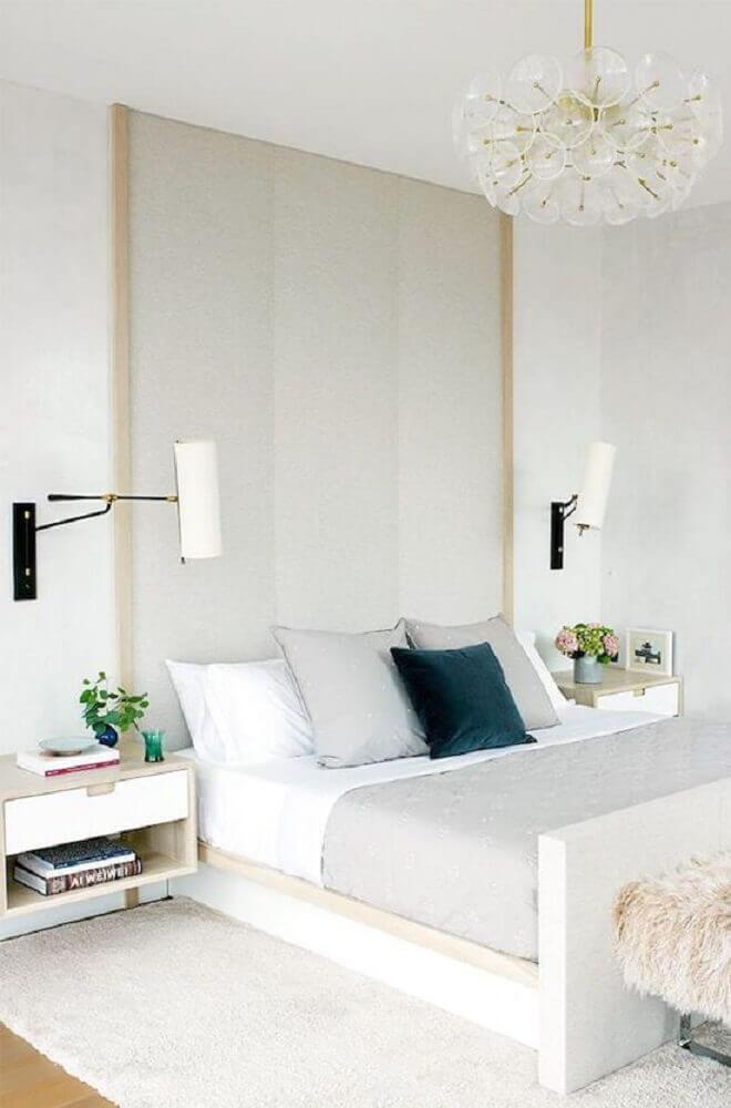decoração moderna para quarto todo branco com criado mudo Foto Pinterest