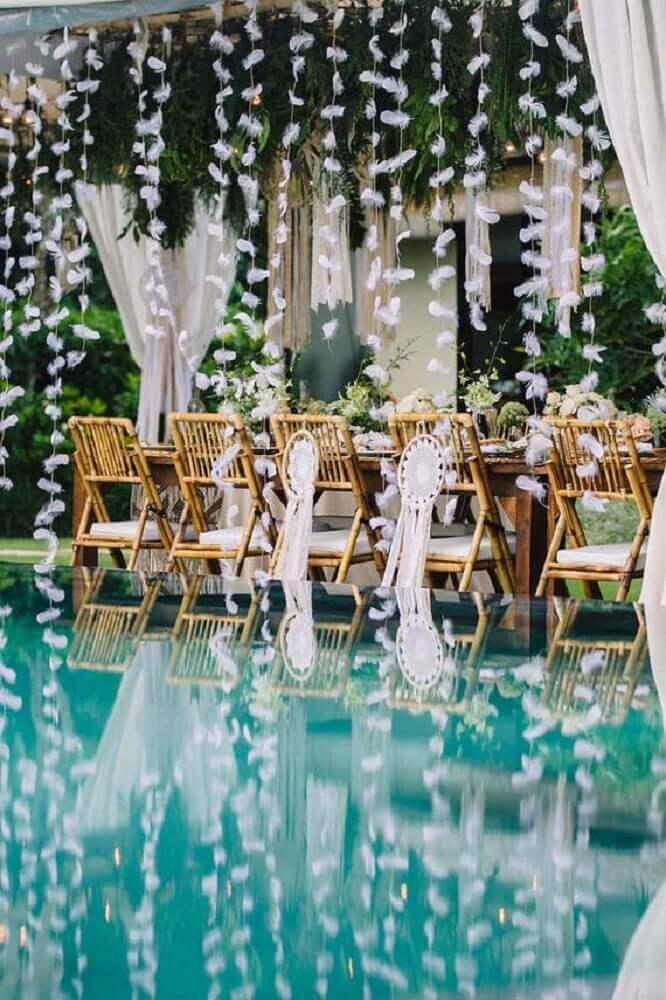 decoração para casamento em casa com piscina Foto Home Decoo